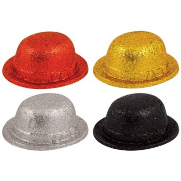 Plastic Bowler Hat Glitter Sparkly