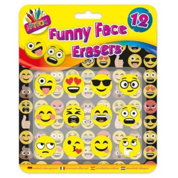 f12 Pack Funny Face Emoji Style Erasers - wholesale novelty stationery